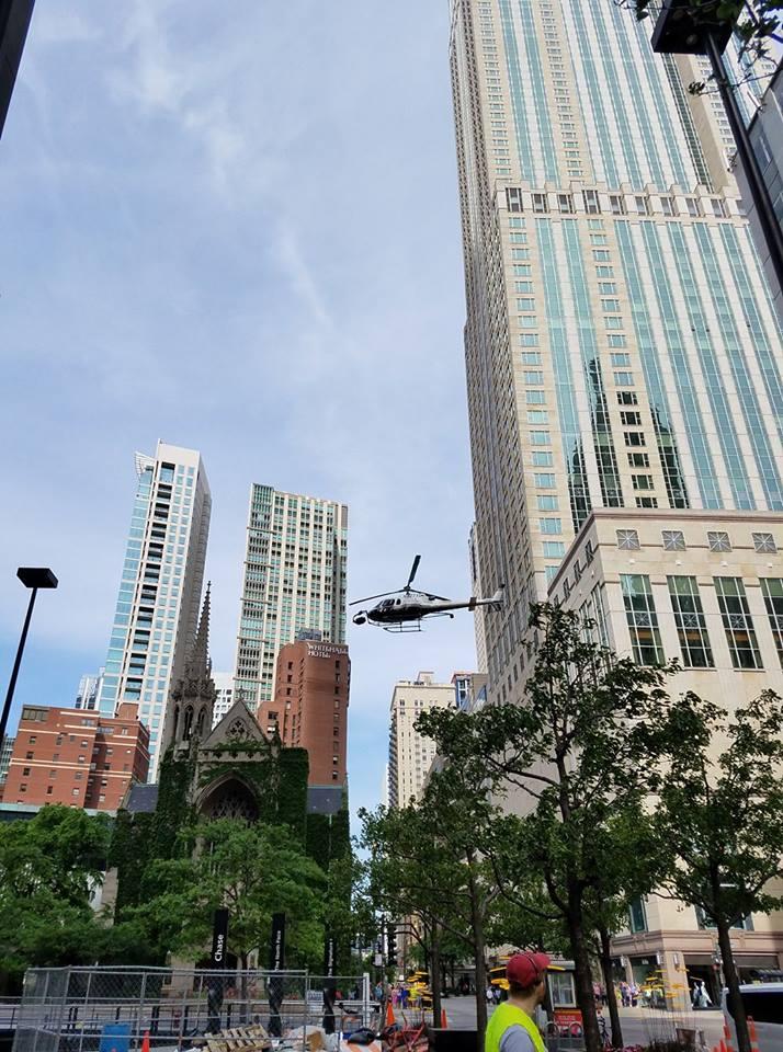 A movie being filmed in Chicago